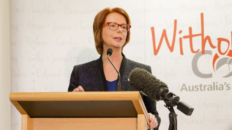 Former Prime Minister Julia Gillard at the opening of an exhibition in March.