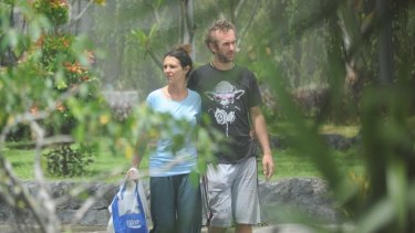 Sara Connor and David Taylor strolling in Bali's Kerobokan jail in January.