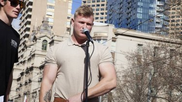 Blair Cottrell, the new head of the United Patriots Front, at a rally in Melbourne.