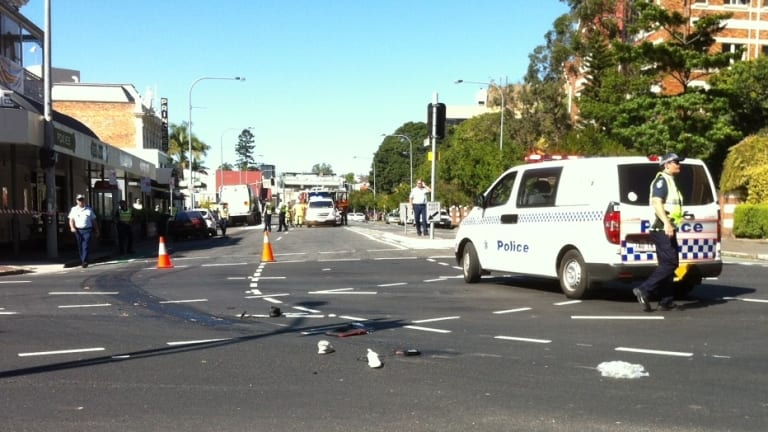 Police at the intersection after the collision that claimed Rebekka Meyer's life in September 2014.