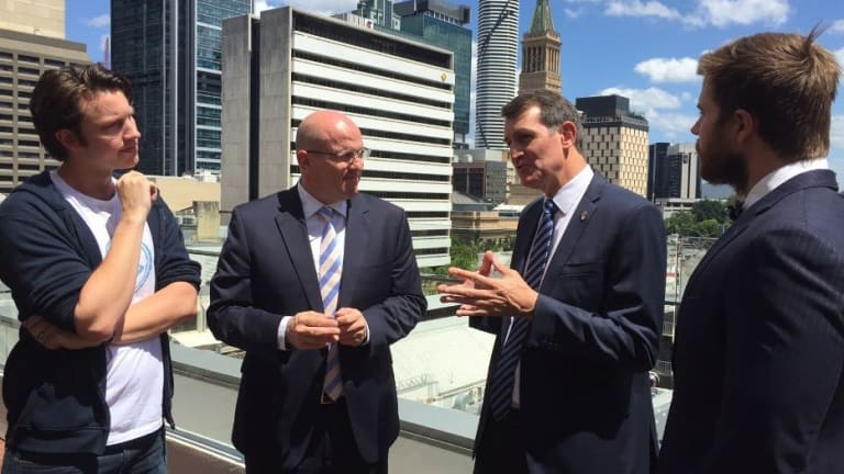 Fishburner's Murray Hurps, ISPT Chris McCluskey, Lord Mayor Graham Quirk and Little Tokyo Two Jock Fairweather on top of the Zara Building