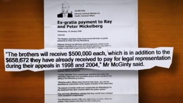 The ex gratia deal that stipulated the State pay for the Mickelbergs' Legal Aid was mentioned in this 2008 press release from Attorney General Jim McGinty.