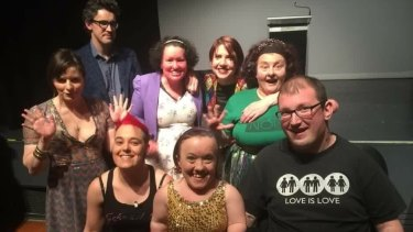 Author Carly Findlay (centre back) and other Quippings performers.