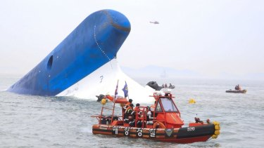 The coast guard search for survivors in last year's ferry tragedy off Jindo Island, South Korea.