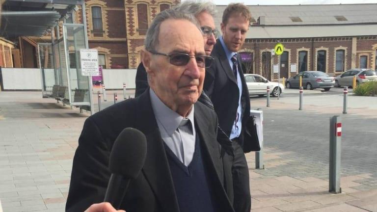 Former Ballarat Bishop Ronald Mulkearns at an earlier hearing in Geelong