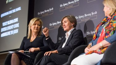 """""""Ask again at dinner"""": Opera House chief executive Louise Herron, middle, jokes about the directive at a <i>Herald</i> panel on the arts."""