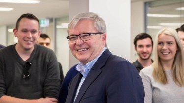 Kevin Rudd pictured at a meeting of Young Labor activists on Saturday.