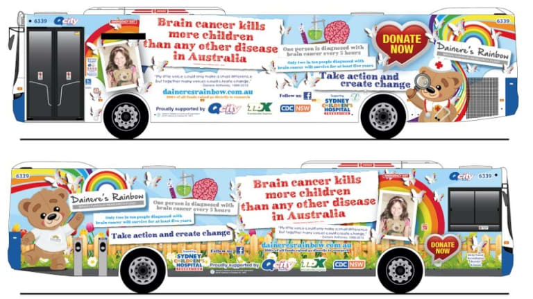 Dainere's Rainbow bus, which will help promote brain cancer research in Canberra, is being launched on Wednesday by Liberal Senator Zed Seselja.