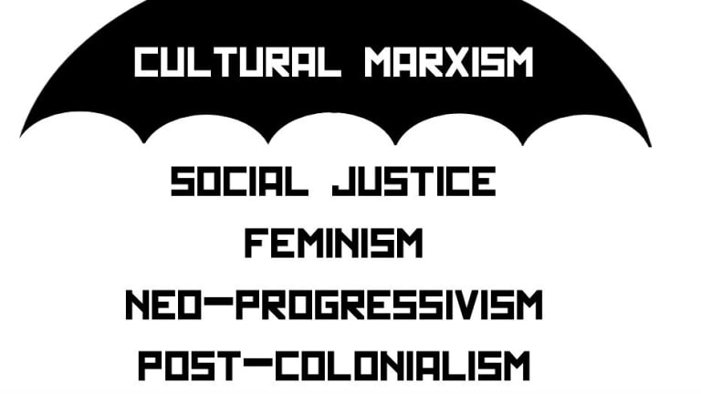 "A still image from a YouTube video that falsely claims that concepts such as social justice and feminism, among others, are ""cultural Marxism."""