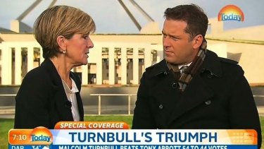 Foreign Minister Julie Bishop with Today host Karl Stefanovic.