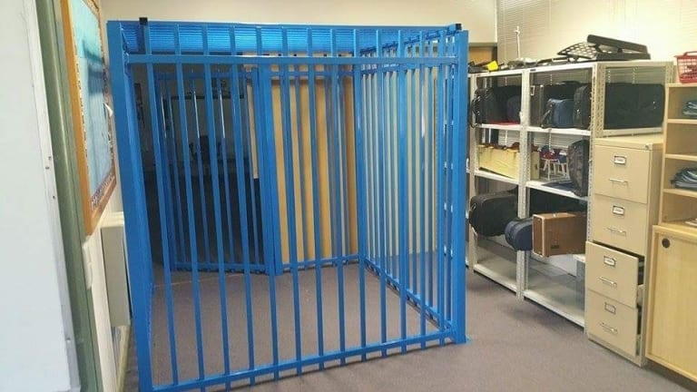 The cage in a Canberra school which led to the independent review.