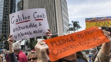 The Adani Carmichael mine project drew protests in Brisbane last year.