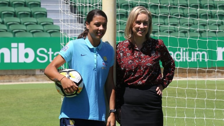 WA's soccer star Sam Kerr with Women's Interests minister Simone McGurk at the announcement.