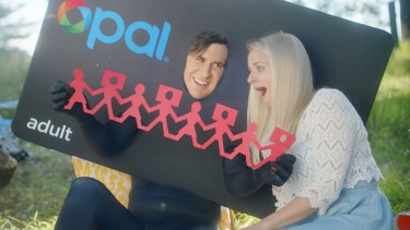 A still from the Opal Man campaign for Opal cards by Transport for NSW.