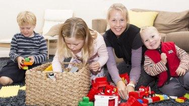Happy: Sarah Bye with children Madeleine, Cameron, and Thomas.