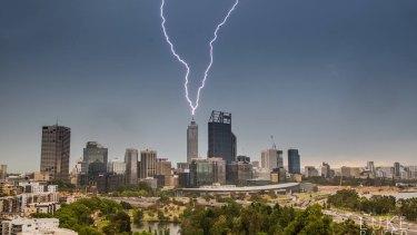 A spectacular lightning strike on Perth city.