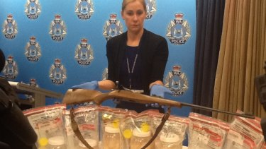 Police display the haul from what they believe was a bust on a major organised methylamphetamine syndicate.