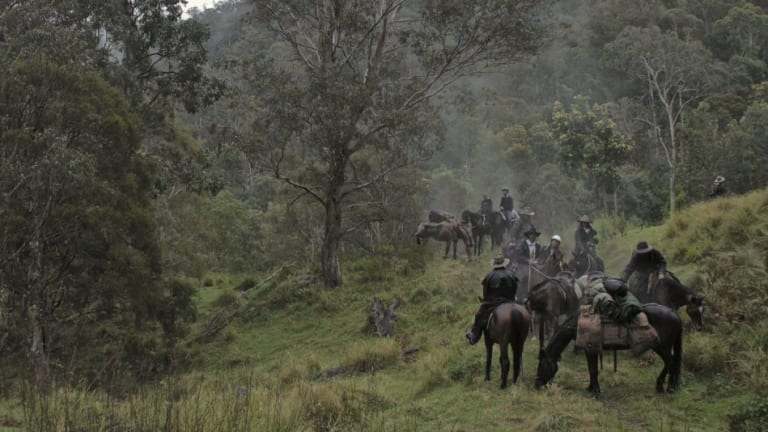 Saddle up: Horsemen in the remote Blue Mountains valley.