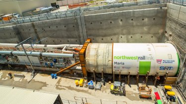 The tail end of a tunnel boring machine .