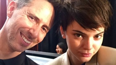 Anthony Nader and Kendall Jenner backstage at the Tom Ford Show.