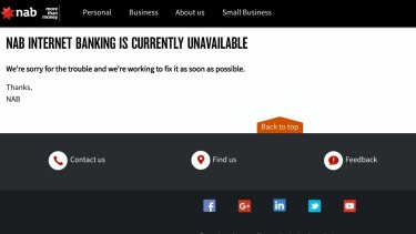 A screenshot from NAB internet banking, which crashed on Thursday morning.