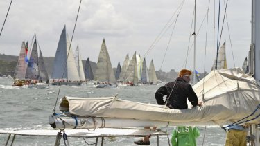 The start of the Sydney-Hobart race, photographed by Lee MacCormick Edwards.