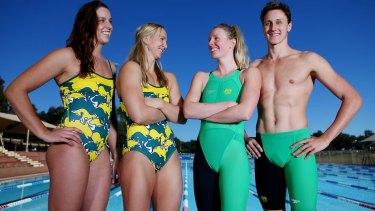 Brittany Elmslie, Melanie Schlanger, Bronte Barratt and Cameron McEvoy pose with the new costume.
