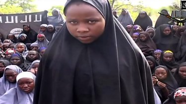 Image from the first video by Boko Haram after the abduction of the Chibok girls in 2014.