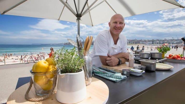 Chef Matt Moran prepares for his cooking demonstration at Bondi beach.