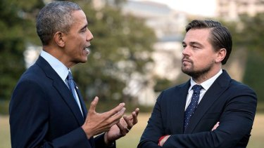 Barack Obama and Leonardo DiCaprio discuss climate change in Before The Flood.
