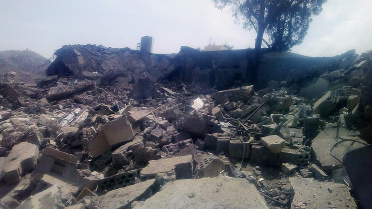 An image released by Medecins Sans Frontieres shows the aftermath of the alleged air strike on a hospital in Saada province, Yemen.