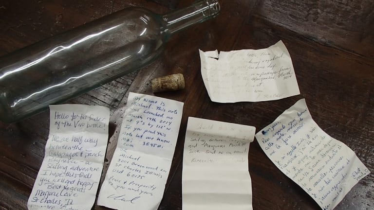 Messages in a bottle found on a far north Queensland beach.