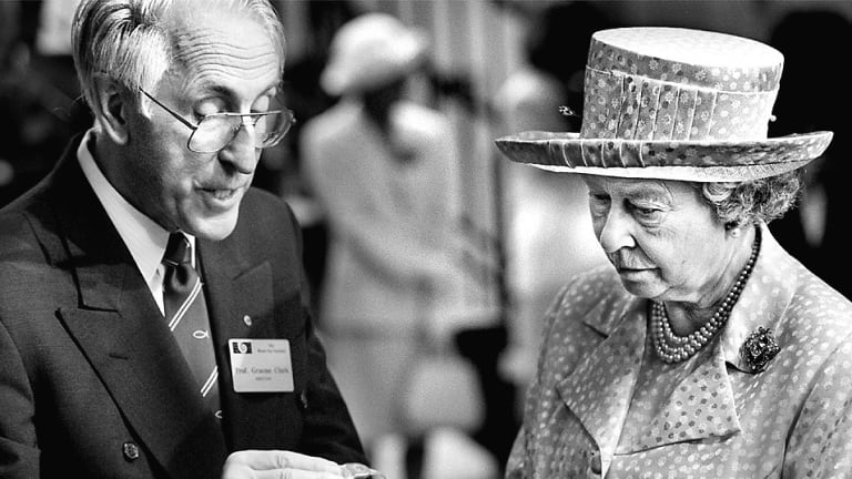 The Queen at the Bionic ear institute being shown the implant by Dr Graeme Clark.