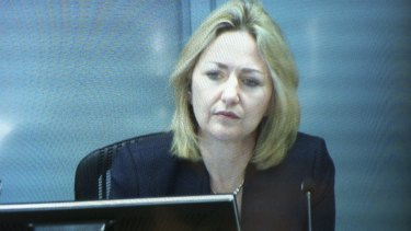 """""""Most regrettable"""": a live feed image as Margaret Cunneen gives evidence at the royal commission."""