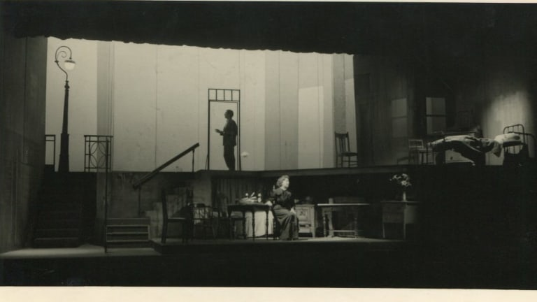 John Adams and Joan Bruce in the Adelaide performance of Patrick White's The Ham Funeral in 1961.