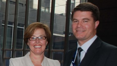 Government minister Meegan Fitzharris and husband Pierre Huetter, pictured in 2011.