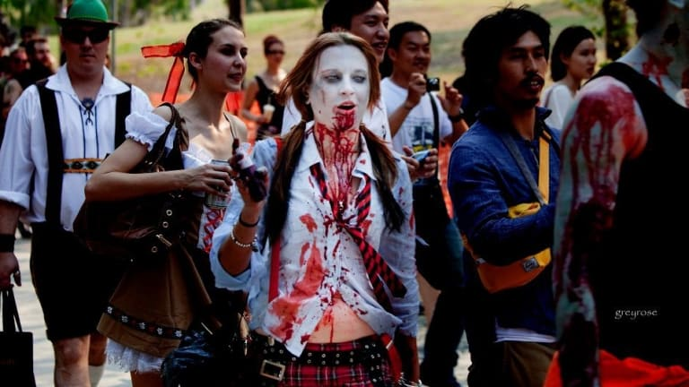 Zombies have been marching in Brisbane's Roma Street Parklands for a decade.