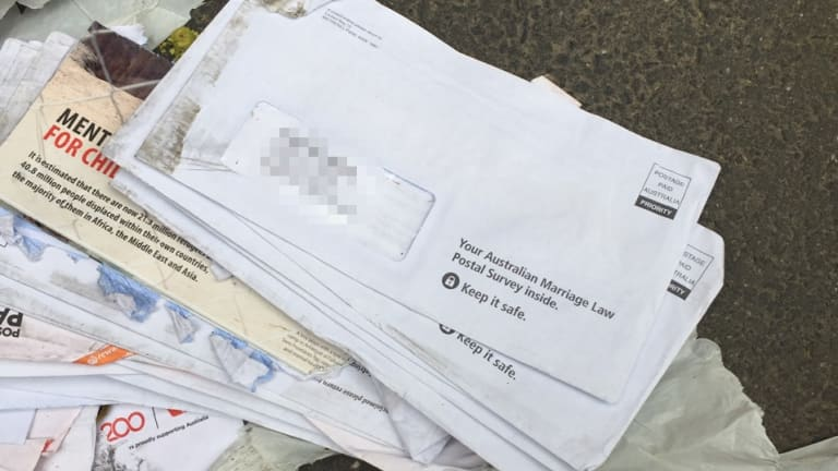 Same-sex marriage surveys found dumped in Melbourne's CBD.