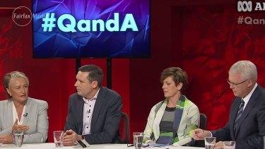 Dr Kerryn Phelps, Australian Christian Lobby managing director Lyle Shelton, Labor MP Anna Burke and Q&A host Tony Jones.