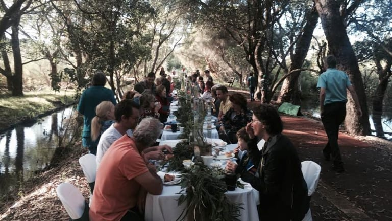 The community's recent 'long table breakfast' at the wetland to thank its volunteers.