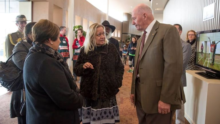 Debbie Carmody manager of Tjuma Pulka Media, seen here with Governor General Sir Peter Cosgrove.