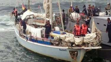 "Philippine Navy personnel board the yacht ""Rockall"" after it was found abandoned in the Sulu Sea in southern Philippines over the weekend."