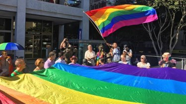 A loud and proud crowd descended on the streets of Brisbane to march in support of the International Day against Homophobia, Transphobia and Biphobia.