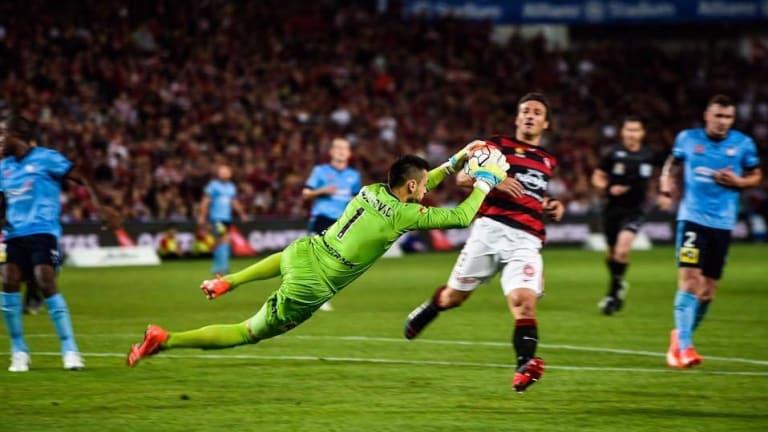 Sydney FC Keeper Vedran Janjetovic makes a save.