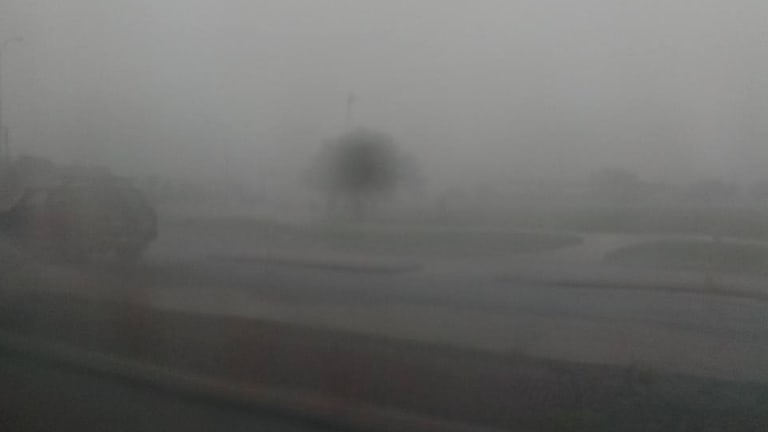 One local took this photo, which shows Broome motorists have almost no visibility on local roads.