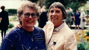 Joyce Stevens (R) and her partner Margo Moore, on the day Stevens received her award as a Member of the Order of Australia for services to social justice for women.
