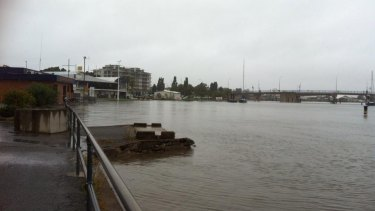 The Gladstone Yacht Club is a gloomy site on Thursday morning.