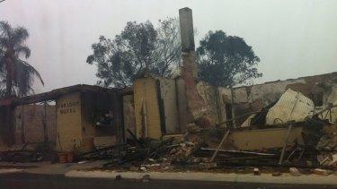 The fire ravaged Yarloop Hotel.