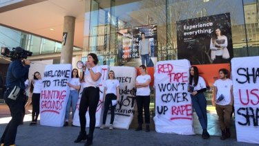 Students from the University of Sydney's  Women's Collective, survivors of campus sexual assault, and their supporters conducting a campus protest last year.