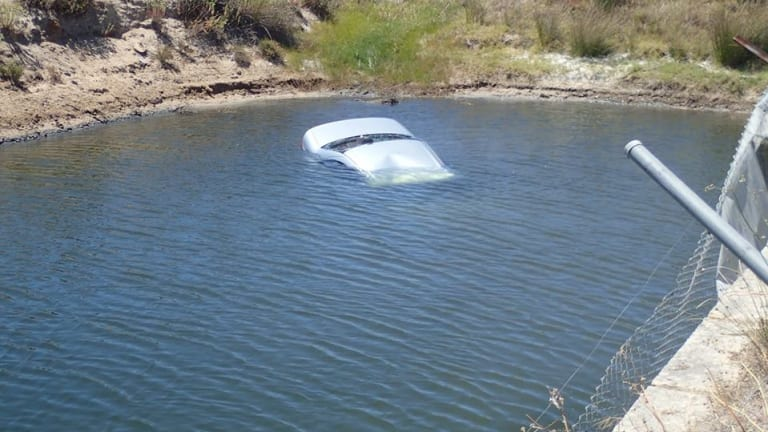 The car sinking.